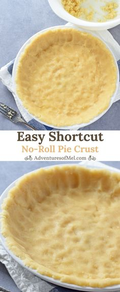 Easy Shortcut No-Roll Pie Crust recipe perfect for fruit pies, custard pie, and more. Made with oil, mix and press into a pie plate for a delicious homemade crust.