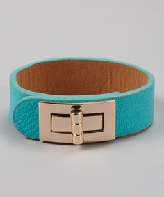 Take a look at this Gold & Mint Buckle Bracelet by R U S H By DENIS & CHARLES on #zulily today! $10 !!