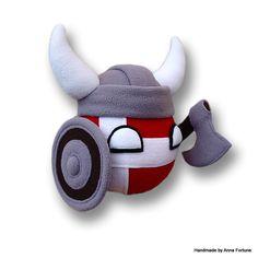 Denmarkball Viking With Helmet, Axe and Shield