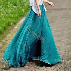 High Quality Women Summer Skirt New Retro Lady Full Circle Boho Gauze Chiffon Long Skirt Pleated Long Maxi Skirt Beach 67 - Hespirides Gifts - 1
