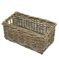 Grey Rattan Narrow Basket with integral handles at both ends. Great to use as a drawer. Strong enough to hold vegetables in the kitchen, yet contemporary enough for use anywhere in your home or office. From magazines, to filing.We stock a range of Grey Rattan Baskets, deep, shallow and square, and of course this Grey Rattan Narrow Basket which can be mixed and matched to solve your storage needs. Grey rattan is very contemporary, a modern twist on a traditional basket. We now stock a range…