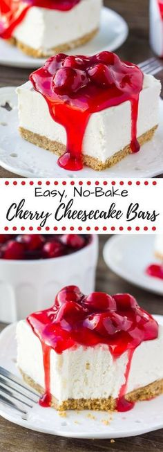 These quick and easy no bake cherry cheesecake bars are the perfect summertime dessert. Smooth & creamy with a crunchy graham cracker crust - they'll be the hit of your next potluck!