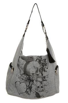 Grey Skull Heart Wing Hobo Bag | Hot Topic