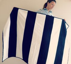 navy and white stripe nautical quilt