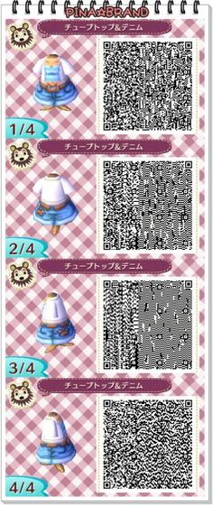 ACNL QR CODE-Jean Shorts with Blue Tank and White Cardi