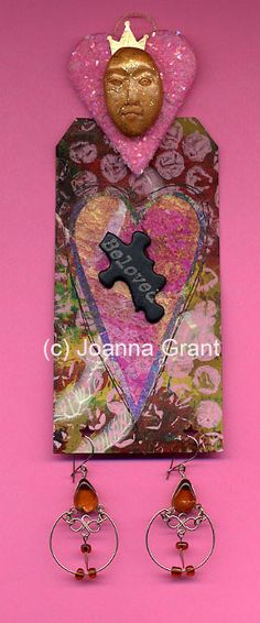 """Beloved"" altered tag art doll made with gelli-printed tag and heart"
