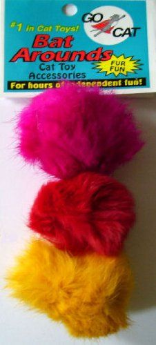 $3.99-$2.89 3 Pack of Bat Arounds: Fur Ball Cat Toy from Da Bird - Your feline friends won't be able to resist these colorful fun 2 to 2.5 inch fur balls in the manufacturer 3 pack! They will provide hours of fun and exercise and are a healthy outlet for your cat's natural pouncing instinct. Each fur ball is approximately 2 to 2.5 inches and come in eye-catching hues. Just the right size for feli ...