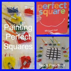 Painting up perfect squares (Piet Mondrian style) from Teach Preschool