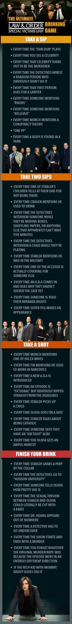 """The Ultimate """"Law & Order: SVU"""" Drinking Game. Say goodbye to your liver."""