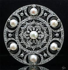アールデコ 天然真珠 ブローチ アンティークジュエリー