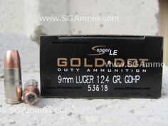 50 round box - 9mm Speer Gold Dot 124 grain Standard Pressure LE Hollow Point Ammo 53618