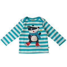 Buy Frugi Organic Baby Badger Stripe Top, Blue Online at johnlewis.com