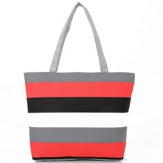 Canvas Bag Striped Rainbow Print Beach Bag Tote c188078b500d3