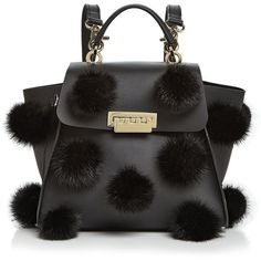 Zac Zac Posen Eartha Iconic Convertible Fur Pom-Pom Leather Backpack (13.295.590 VND) ❤ liked on Polyvore featuring bags, backpacks, fur backpack, zac zac posen bag, leather rucksack, backpack bags and fur bag
