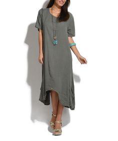 Khaki Olive Linen Dress