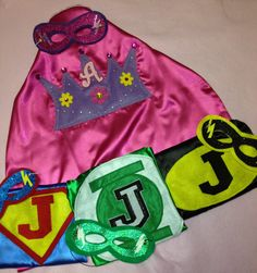 Princess Capes Childs Initials Machine Embroidered with Superhero Logos or Party Logos of your choice