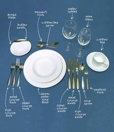 The Lost Art Of Table Manners – Dinner Etiquette How to set a table properly. Comment Dresser Une Table, Make It Easy, Dining Etiquette, Etiquette Dinner, Table Setting Etiquette, Etiquette And Manners, Table Manners, Tips & Tricks, Decoration Table