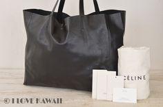 CELINE Black Leather Horizontal Cabas Tote Bag