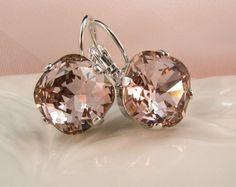 New w Swarovski Elements Vintage Rose Cushion Cut Crystal Jewelry Earrings 9e27866f47f