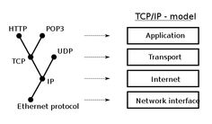Protocols in relation to the Internet layering scheme.