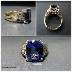 Our client wanted a setting that would showcase her incredible tanzanite. Our Master Jeweler created this elegant setting for her stone. The side diamonds and intricate hand engraving accent the tanzanite beautifully! McNulty Jewelers original design