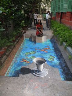 The street art will have a motivation, sometime inspiration, culture, creativity are the parts of it. On other hand street art is said to be street painting, which is drawn with some impermanent chalk on the street. 3d Street Art, 3d Street Painting, Best Street Art, Amazing Street Art, Street Art Graffiti, Street Artists, Graffiti Artists, 3d Chalk Art, 3d Art