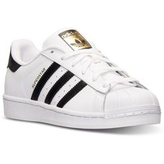 adidas Women's Superstar Casual Sneakers from Finish Line (105 CAD) ❤ liked on Polyvore featuring shoes, sneakers, adidas, zapatos, trainers, leather upper shoes, low profile shoes, retro sneakers and retro shoes