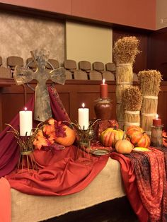 370 best images about church decorating - New Ideas Fall Church Decorations, Harvest Decorations, Thanksgiving Decorations, Church Ideas, Church Foyer, Church Stage, Alter Decor, Altar Design, Falls Church