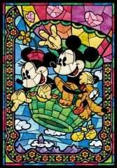 Minnie and Mickey hot air balloon stain glass window <3
