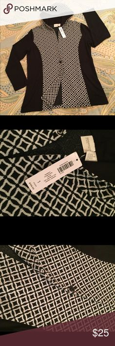 CHICO'S NWT ZENERGY - Active Wear - Jacket - Black Chico's New With Tag, Zenergy, Active Wear, knit hooded jacket.  Black and white.  Wonderful below hip length that looks great w/leggings.  Brand new, I purchased  w/o trying it on and I need a Petite Medium.  No  Smoking and No Pet home! Items in my Posh Closet are my own or belong to my daughter-in-law (in that case, I will note the information.) Chico's size 1 = Medium Regular (this seems to run big) Chico's Jackets & Coats