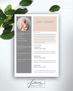 Resume Template 3 page / CV Template Cover par FortunelleResumes