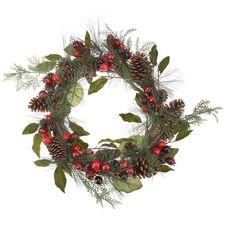 Corona de Navidad piñas frutos El Corte Inglés