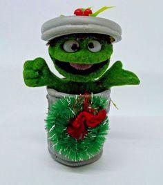 Oscar The Grouch Flocked Christmas Ornament Alderbrook Sesame Street 1980s HTF