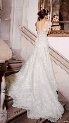 moonlight couture spring 2016 wedding dresses cap sleeves sweetheart scallop neckline embroidered trumpet fit flare pretty mermaid gown h1293 back
