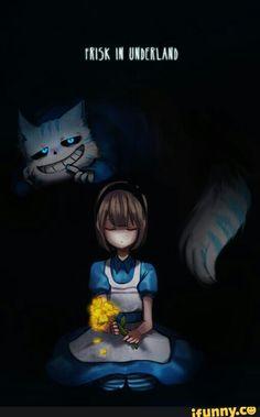 Frisk in Underland | Alice in Wonderland. Personally i think sans should be the mad hatter