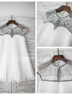 Sheath / Column Knee-length Flower Girl Dress - Chiffon Short Sleeve Jewel with 2017 - $97.29