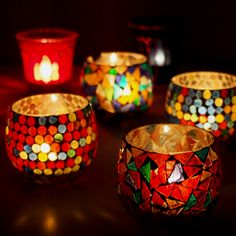 Mosaic Candle Holder, Dot Candle Holder- Christmas gift ideas :)