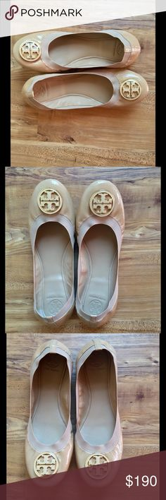 Tory Burch Flats Beautiful Tory Burch Tan Leather With Gold Logo Ballerina Flats! Women's Size 11 Medium! EUC ! Tory Burch Shoes Flats & Loafers