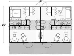 Two Bedroom, Two Bath Shipping Container Home Floor Plan