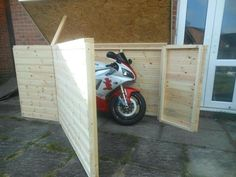 Diy Motorcycle Shed - Motorcycle Shed I Could Add A Roof And This Might Be Just The 300 Motorcycle Shed Please Read The Detailed Description Below 5 Motorcycle Storage Solu. Motorbike Shed, Motorcycle Storage Shed, Motorcycle Shed Ideas, Motorcycle Shop, Motorcycle Garage, Storage Shed Plans, Garage Storage, Outdoor Bike Storage, Bicycle Storage