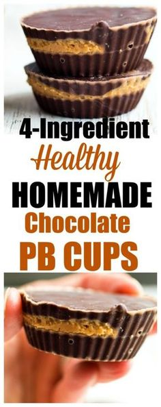 Healthy Homemade Peanut Butter Cups recipe. Just 4 ingredients, easy and healthy homemade candy. Makes a great special treat or dessert!