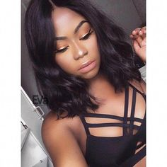 Bob Hairstyles Brenda - Center Part Fashion Wavy Lob Lace Front Virgin Human Hair Wig Wavy Bob Hairstyles, Black Women Hairstyles, Hairstyles 2016, Beautiful Hairstyles, African Hairstyles, 1920s Hairstyles, Children Hairstyles, Curly Haircuts, Celebrity Hairstyles
