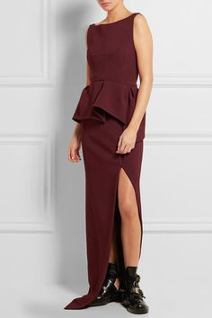 Balenciaga - Stretch-crepe Peplum Gown - Merlot - FR34