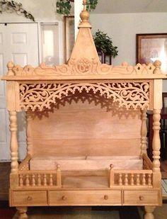 Great hutch on top of dresser? Mandir Design, Pooja Room Design, Geometric Furniture, Pooja Mandir, Meditation Altar, Dining Room Blue, Wooden Screen, Puja Room, Temple Design