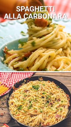 Spaghetti alla Carbonara is a quick and easy recipe that's elegant enough to serve for guests. This is the perfect easy entertaining recipe. Serve it with a tossed salad and garlic bread and you have Easy Chicken Dinner Recipes, Easy Appetizer Recipes, Easy Healthy Recipes, Recipe Chicken, Chicken Pasta, Recipes Dinner, Fast Easy Meals, Easy Weeknight Meals, Easy Meals To Make