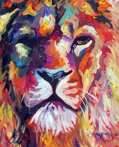 ABSTRACT ORIGINAL ART COLORFUL CANVAS PAINTING 16X20 LION MARC BROADWAY in Art | eBay