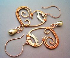 Steampunk Mechanical Hearts Wire Wrapped Copper by GearsFactory, €20.00