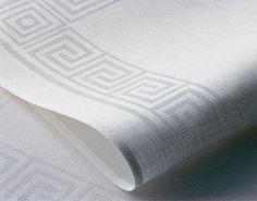 Greek Key woven into Irish linen. Greek Key, Irish, Textiles, Fabric, Tejido, Tela, Irish Language, Cloths, Fabrics