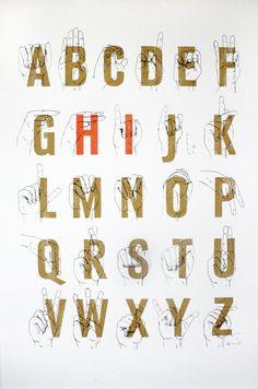 Sign Language Alphabet Hi 125x19 Three Color by friendsmakeprints