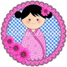 Full Color strijk applicatie Kokeshi Dottie roze, 15 cm  #DIY